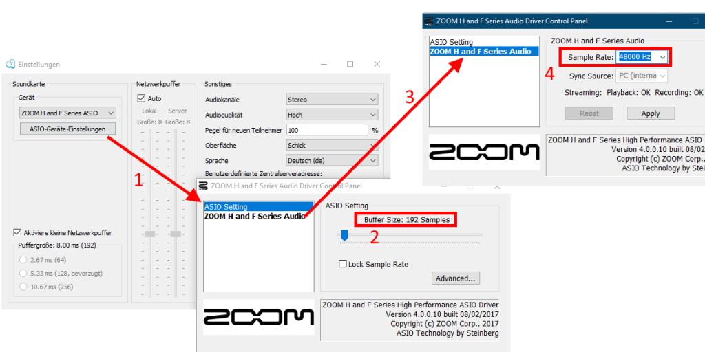 Jamulus: Einstellungen für Zoom H2N