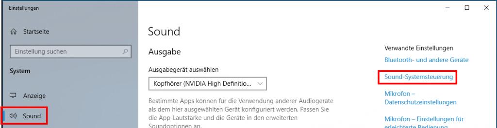 Windows: Sound-Systemsteuerung öffnen